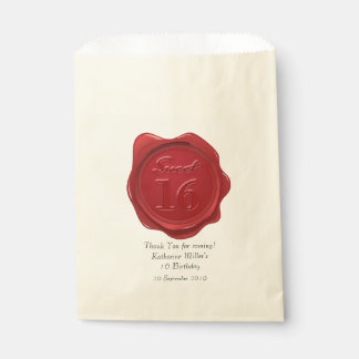 Sweet 16 Birthday Thank You Red Wax Seal Favor Bag