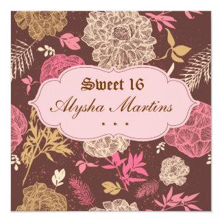 Sweet 16 Birthday Vintage Floral Pink Brown Card