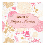 Sweet 16 Birthday Vintage Floral Pink White Personalized Announcement