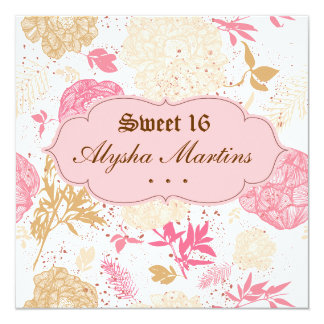Sweet 16 Birthday Vintage Floral Pink White 5.25x5.25 Square Paper Invitation Card