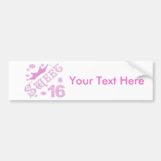 Sweet 16 Birthday With Crown Bumper Sticker
