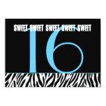 Sweet 16 Birthday Zebra Black White Aqua Template Invites