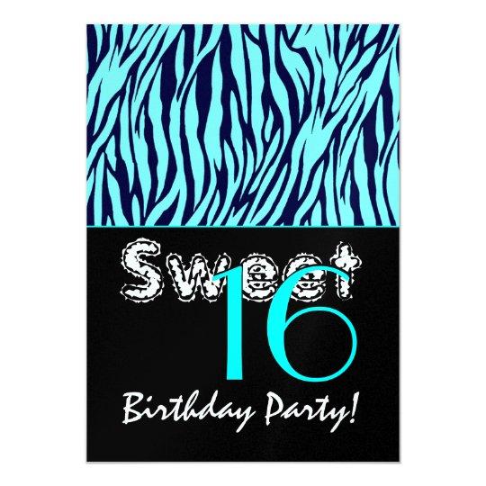 Sweet 16 Birthday Zebra Stripes Midnight Blue Aqua Card
