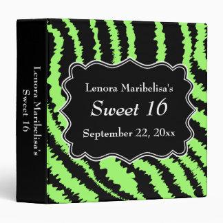 Sweet 16 Black and Lime Green Zebra Pattern 3 Ring Binder