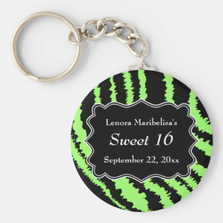 Sweet 16 Black and Lime Green Zebra Pattern Basic Round Button Keychain