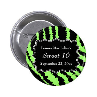 Sweet 16 Black and Lime Green Zebra Pattern Button