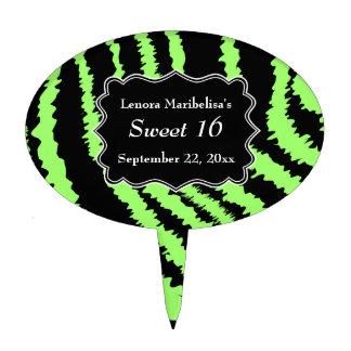 Sweet 16 Black and Lime Green Zebra Pattern Cake Topper