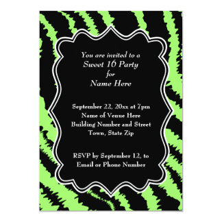 Sweet 16 Black and Lime Green Zebra Pattern Card