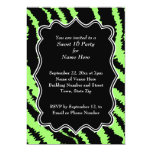 Sweet 16 Black and Lime Green Zebra Pattern Personalized Invite