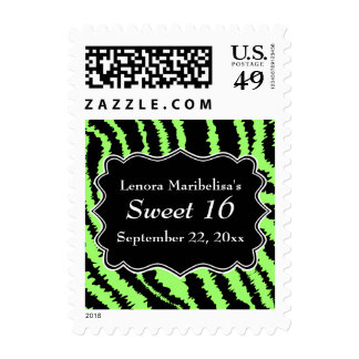 Sweet 16 Black and Lime Green Zebra Pattern Stamps