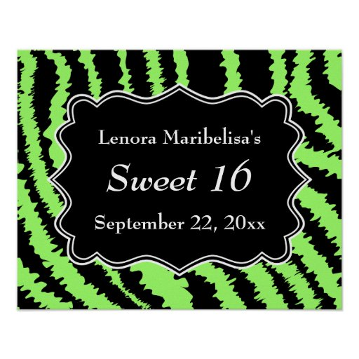 Sweet 16 Black and Lime Green Zebra Pattern Poster