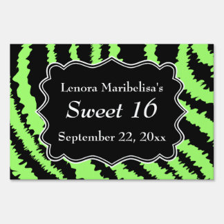 Sweet 16 Black and Lime Green Zebra Pattern Yard Sign