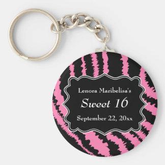 Sweet 16 Black and Pink Zebra Pattern Basic Round Button Keychain