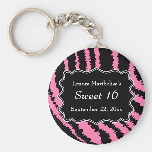 Sweet 16 Black and Pink Zebra Pattern Keychain