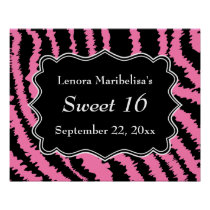 Sweet 16 Black and Pink Zebra Pattern Poster