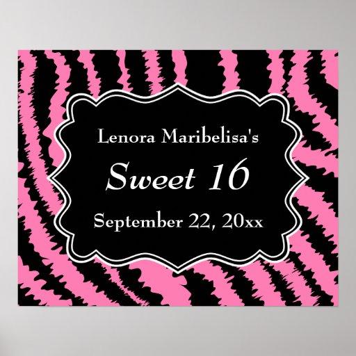 Sweet 16 Black and Pink Zebra Pattern Poster