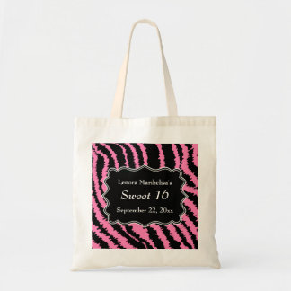 Sweet 16 Black and Pink Zebra Pattern Tote Bag