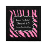 Sweet 16 Black and Pink Zebra Pattern Trinket Box