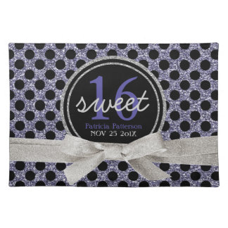 Sweet 16 Black and Purple Glitter Look Polka Dots Cloth Placemat