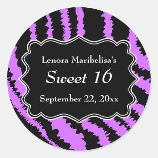 Sweet 16 Black and Purple Zebra Pattern Classic Round Sticker