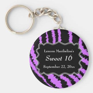 Sweet 16 Black and Purple Zebra Pattern Keychain