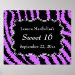 Sweet 16 Black and Purple Zebra Pattern Poster