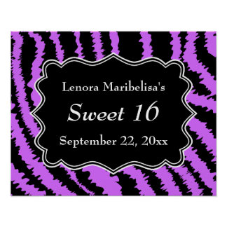 Sweet 16 Black and Purple Zebra Pattern Poster