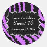 Sweet 16 Black and Purple Zebra Pattern Round Sticker
