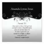 Sweet 16 Black and Silver Ornate Silver Scrolls Card