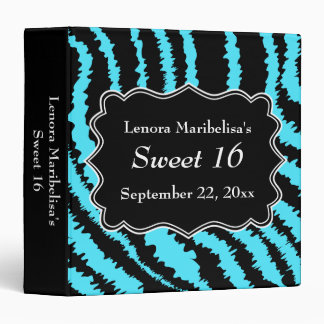 Sweet 16 Black and Turquoise Zebra Pattern 3 Ring Binder