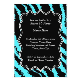 Sweet 16 Black and Turquoise Zebra Pattern 5x7 Paper Invitation Card