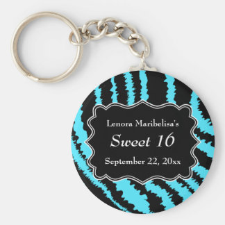 Sweet 16 Black and Turquoise Zebra Pattern Basic Round Button Keychain