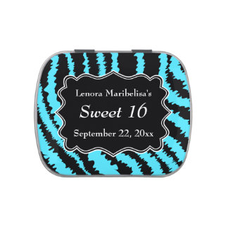 Sweet 16 Black and Turquoise Zebra Pattern Candy Tin