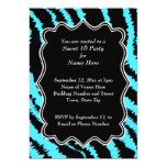 Sweet 16 Black and Turquoise Zebra Pattern Card