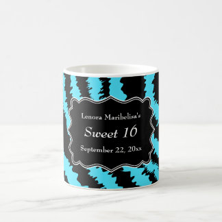 Sweet 16 Black and Turquoise Zebra Pattern Coffee Mug