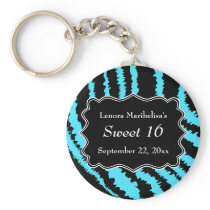 Sweet 16 Black and Turquoise Zebra Pattern Keychain