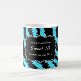 Sweet 16 Black and Turquoise Zebra Pattern Classic White Coffee Mug