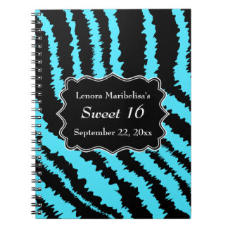 Sweet 16 Black and Turquoise Zebra Pattern Notebooks