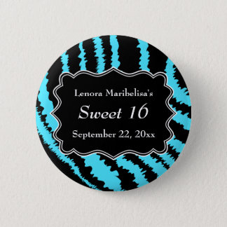 Sweet 16 Black and Turquoise Zebra Pattern Pinback Button
