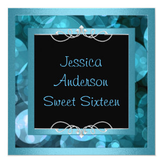Sweet 16 Black Blue Bubbles Metal  Frame Party Card