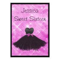 Sweet 16 Black Dress Pink Silver Glitter 3 Announcement