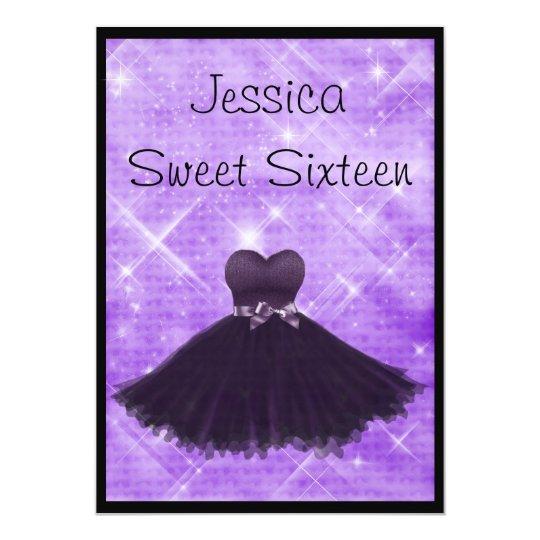 Sweet 16 Black Dress Purple Silver Glitter 3 Card