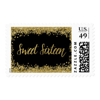 Sweet 16 Black Faux Gold Glitter Birthday Postage