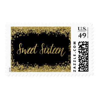 Sweet 16 Black Faux Gold Glitter Birthday Stamp
