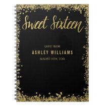 Sweet 16 Black Gold Faux Glitter Guest Book
