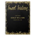 Sweet 16 Black Gold Faux Glitter Guest Book Spiral Notebook