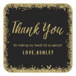 Sweet 16 Black Gold Glitter Birthday Favors Square Sticker