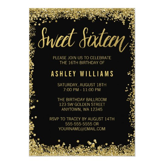 Sweet 16 Black Gold Glitter Birthday Invitation Zazzlecom