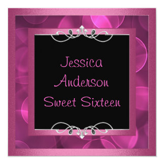 Sweet 16 Black Pink Bubbles Metal  Frame Party Card