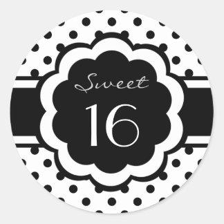 Sweet 16 Black Polka Dot Round Sticker